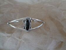NAVAJO  925 Sterling Silver  Black Onyx CUFF BRACELET   Decorative Desigh
