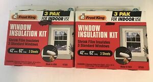 """Frost King Window Insulation Kit 3 Sheets 42"""" x 62"""" V73/3 Lot Of 2"""