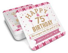75th Birthday 1943 Happy Gift Present Idea Women Female Keepsake Lady's Coaster