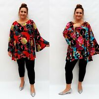 Plus Size Top Tunic Lagenlook Loose Stretchy Blouse Long Sleeve Wolfairy Womens