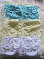 Hand Knitted Multi-Coloured Baby Blanket - Brand New