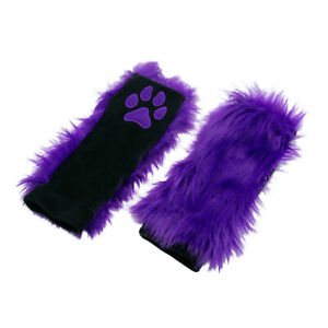 PAWSTAR Paw Arm Warmers - Furry Fingerless Gloves Costume Purple [PU CT]3101