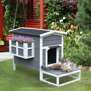 Grey Wood Luxury Raised Outdoor Indoor Dog Cage Cat House with Balcony