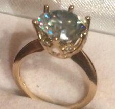 Yellow Gold 10k Natural Diamonds Accents Vs2 Huge 4.08 Ct Genuine Moissanite