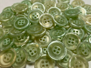 """12 Mod/Cool Euro Pearl/Clear Double Circle Lt Green Poly Button 15mm 5/8"""" 4hole"""