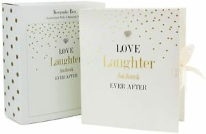 Large Wedding Gift Keepsake Storage Box Love Laughter and Happily Ever After