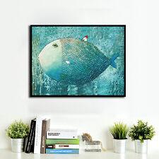 Cartoon Super Fish Little House Canvas Poster Art Print Modern Home Wall Decor