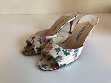 Manolo Blahnik silk open toe floral heel sandals EUR Sz 36/ US 5.5 EUC RARE $790