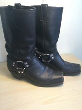 FRYE Womens Harness Black Leather Boots 10 M