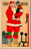 Colorful Art Deco~Standing Santa Claus with Toys Vintage Christmas Postcard-s499