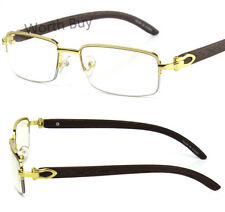 New Mens Women Retro Vintage Clear Lens Eye Glasses Half Frame Wood Fashion Wrap