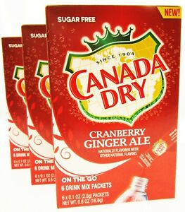 Canada Dry Cranberry Ginger Ale ~ Packets ~ Sugar Free ~ Drink Mix ~ Lot of 3