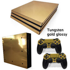 PS4 PRO Gold Glossy Console & 2 Controllers Decal Vinyl Cover Skin Wrap Sticker