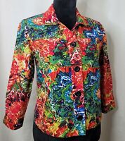 Chico's Red Floral Print Button Down Shirt 3/4 Sleeve Hawaiian Print Top Sz 0