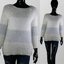 Maglione Donna Casual Pullover maniche lunghe sciolto maglia girocollo Bianco