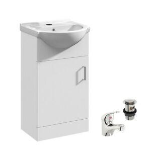 White Bathroom Cloakroom Vanity Unit Basin Sink Storage Cabinet 450mm Tap Waste