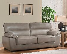 Grey High Grade Leather Gel 3 Seater Sofa Suite TORRENTO