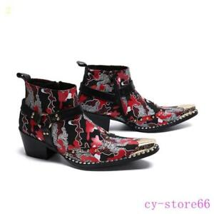 Mens Zipper Metal Pointed Toe Cuban Leather Mid Heels Camo Shoes Ankle Boots HOT