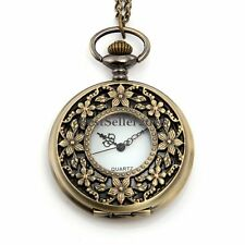 Vintage Bronze Hollow Covered Flower Womens Pocket Watch Pendant Necklace Chain