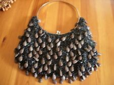 Ladies Evening bag Black/Grey Beaded Silver colour Clasp and Handle