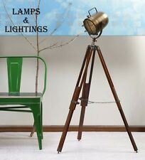 VINTAGE DESIGNER INDUSTRIAL ANTIQUE NAUTICAL SPOT LIGHT TRIPOD FLOOR LAMP DECOR