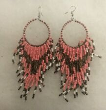 Bead Tassel Tribal Earrings New Boho Blast Pink/Copper/White Seed