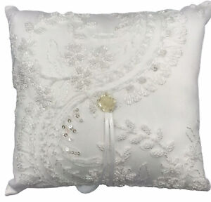 Ivy Lane Design Victorian Ring Pillow White Seed Beads Embroidery Sequins