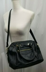Apt.9 Large Black Faux Leather Purse Tote Cross Body Bag with Snake Print Detail