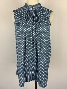 Witchery Sleeveless Blouse Top Blue With Polka Dots Button Mandarin Collar 10