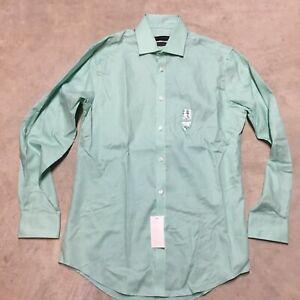 mens Tommy hilfiger TH Flex collar athletic fit stretch green dress shirt 04-20