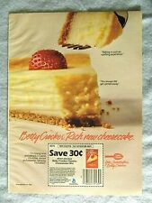1985 Magazine Advertisement Page Betty Crocker Classics Cheesecake Mix Coupon Ad