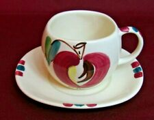 Purinton Slip Ware Pottery Mid Century Modern Apple Pattern COFFEE CUP & SAUCER