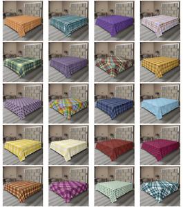 Ambesonne Tartan Flat Sheet Top Sheet Decorative Bedding 6 Sizes
