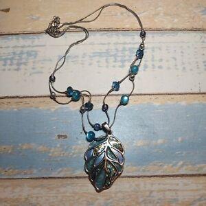 "Silver Tone Enamel Leaf Pendant Necklace 2 strand beads turquoise blue color 20"""