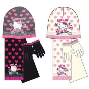 Kids Girls Hello Kitty Light Up The World Knitted Bonnet Scarf Gloves Set
