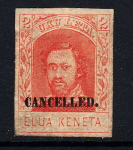 1869 Hawaii #29s CANCELLED Ovpt 2 Cents H Red