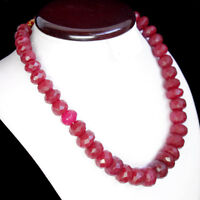 WORLD CLASS QUALITY 846.00 CTS NATURAL FACETED RED RUBY BEADS NECKLACE STRAND