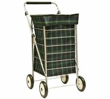 4 Wheel Shopping Trolley Tartan Check Chrome Plated Adjustable Handle Blue Green