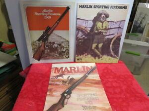 3  MARLIN FIREARMS CATALOGS 1969 ---1971---1972