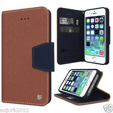 IPHONE 5 5S SEWallet Cover Pouch w/Magnetic Flap+Card Slots Case Brown Dark Blue