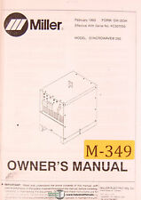 Miller Syncrowave 250, Welding Machine, Owners Manual Year (1993)