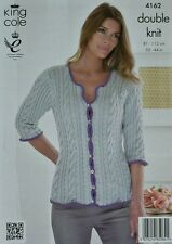 KNITTING PATTERN Ladies 3/4 Sleeve Round Neck Cable Cardigan DK KC 4162