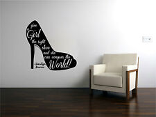 Marilyn Monroe Shoes Quote Vinyl Sticker Decal for Glass or Wall Hi heel
