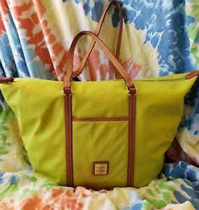 HTF Dooney & Bourke Nylon Celadon Green Overnight Zip Tote Leather Handles NWT