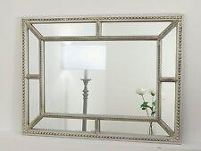 "Hampton Silver Ornate Rectangle Beaded Wall Mirror 38"" x 30"" V Large"