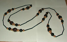 STUNNING LONG navy blue black BEAD FLAPPER NECKLACE ROSE GOLD PLATED 50 INCHES