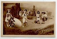 Buona Pasqua Bambini con Uova Fiori Easter Childrens Egg PC Viaggiata 1934