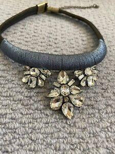 Anthropologie Gem Thread Bib Necklace - Grey - Brand New