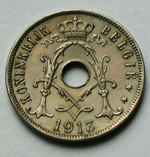 1913 BELGIUM Belgie Coin - 25 Centimes (Cents) - EF+ -