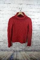 Paul James 100% Wool Chunky Cableknit Turtleneck Womens Sweater England S